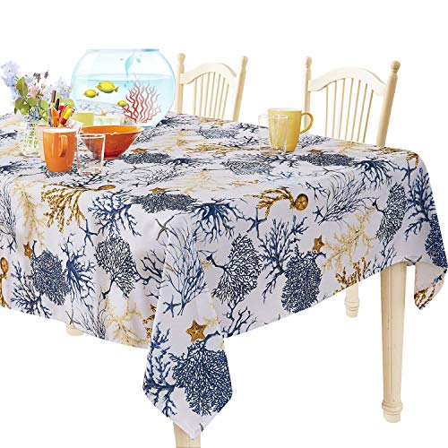 (YEMYHOM 100% Polyester Spillproof Tablecloths for Rectangle Tables 60 x 104 Inch, Modern Printed Indoor Outdoor Camping Picnic Rectangular Table Cloth (Blue Tree))