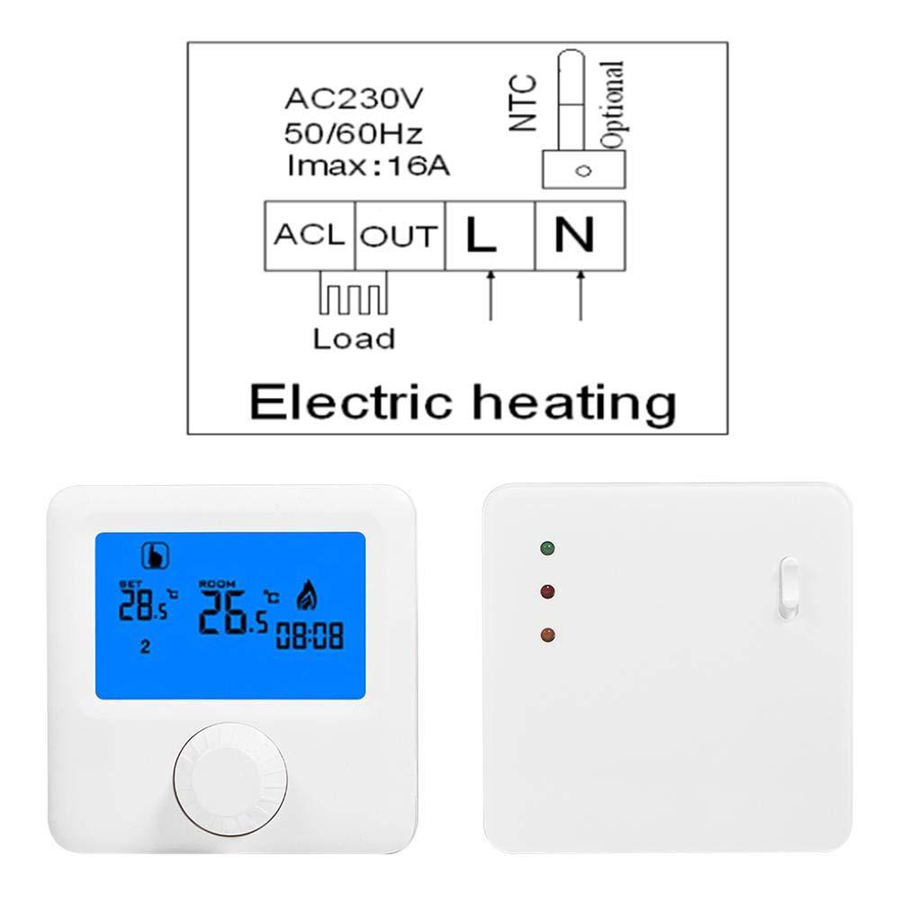 Termostato inal/ámbrico controlador de temperatura para sistema de calefacci/ón el/éctrica termostato de calefacci/ón central termostato de calentamiento inal/ámbrico RF digital LCD