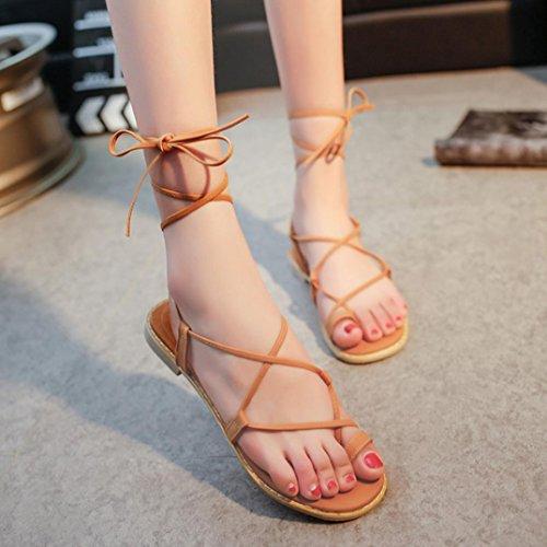 HLHN Women Sandals,Roman Gladiator Ankle Cross Strap Flat Heel Flip Flops Clip-Toe Shoes Casual Vintage Lady Brown