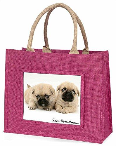 Advanta pugzu Dog Love You Mum Große Einkaufstasche/Weihnachtsgeschenk, Jute, pink, 42x 34,5x 2cm