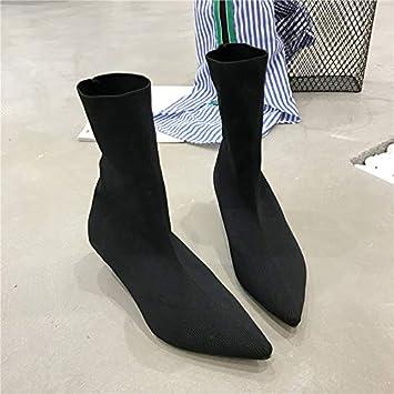 Shukun Botines Calcetines Botas Stretch Boots Mujer era Delgada Botas de tacón bajo Gatos Puntiagudos con Botas Cortas Botas descubiertas: Amazon.es: ...
