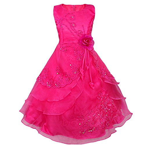 TiaoBug Embroidered Flower Girls Dress Wedding Party Bridesmaid Princess Gown Maxi Dresses Rose 7-8