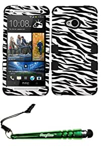 FoxyCase(TM) FREE stylus AND HTC One M7 Zebra Skin Black TUFF Hybrid Phone Protector Cover cas couverture