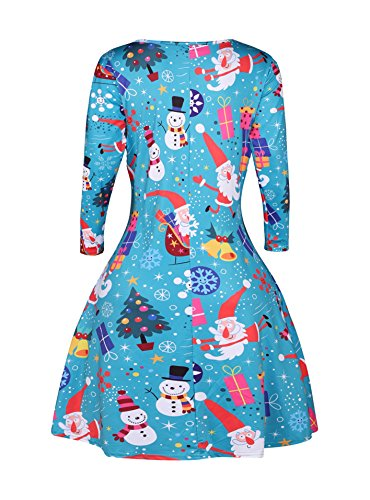 Dress Casual Santa Dress Women's Neck Claus Sleeve Long Party Christmas Dongpai Round Blue Tunic xH7EqwHY