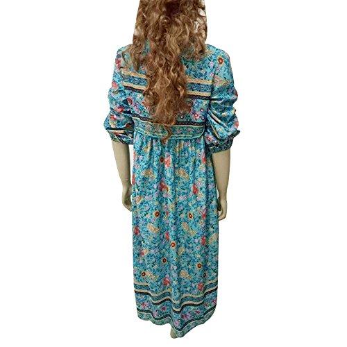 Culater® Femmes Floral Print Long Sleeve Robe Boho Mesdames Long Maxi Robe de soirée