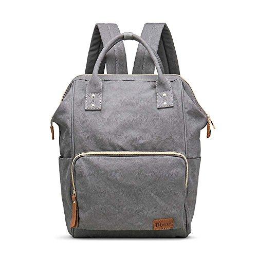Multifunction Canvas Backpack Travel Bags for Man Woman Casual Laptop Rucksack (Semizipper Pocket x Grey -