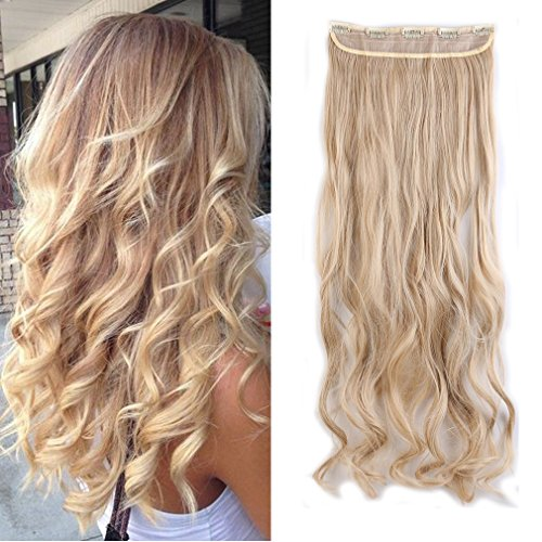 Sexybaby Synthetic Hair Extensions Hair-pieces Clip-in 24 Inches Curly Half Full Head with 5 Clips (Dark Blonde Mix Bleach Blonde,140G)