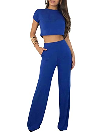 a91afe493f1 Amazon.com  Angsuttc Women s Casual 2 Piece Outfit Short Sleeve Crop Top  and Wide Leg Long Pants Set  Clothing