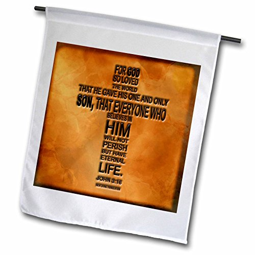 3dRose fl_29092_1 John 3/16 Bible Verse Embossed on a Copper Background Garden Flag, 12 by 18-Inch