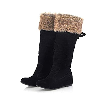 ac5118011b8 JOYTO Mid Snow Boots Women Ladies Knee High Boots Hidden Heels Winter Flat  Faux Fur Suede Wedge 4 cm Calf Leather Warm Outdoor Elasticated Black Brown  Grey ...