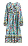 R.Vivimos Women's Long Sleeve Floral Print Retro V Neck Tassel Bohemian Midi Dresses (Medium, Green)