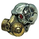 Gas Mask with Red Rhinestone Eyes Paracord / Lanyard Bead in .925 Sterling Silver & Bronze by GD Skulls