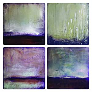 """CoasterStone AS9952 Absorbent Coasters, 4-1/4-Inch, """"Rustic Abstracts II"""", Set of 4"""