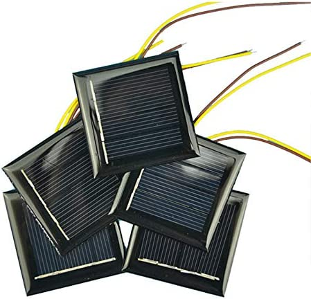 AOSHIKE 10Pcs 2V 130MA Micro Solar Panels Photovoltaic Solar Cells with 15CM Wires Power Charger Solars Epoxy Plate DIY Projects Toys 54x54mm 2V 130MA 54x54MM