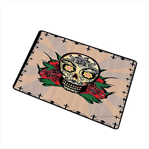 Axbkl Printed Door mat Mexican Decorations Sugar Skull with Red Rose and Cross Spooky Halloween Horror Mystic Art Theme W30 xL39 Durable Multi -