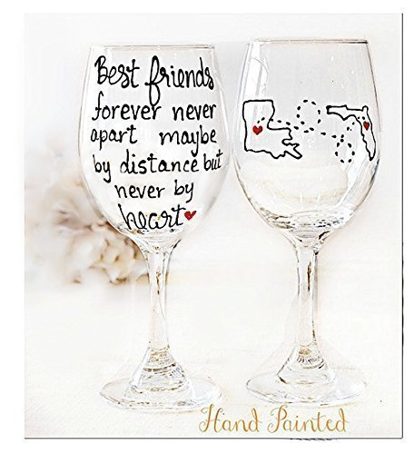 Best Friend Long Distance State Wine Glass with Quote, Personalize with States, Countries or Provinces, Stemless Wine Glass, Hand Painted by Brushes with a View (Image #3)
