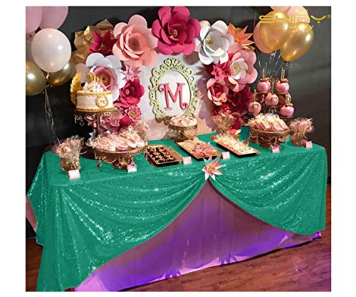 60x102-Inch Rectangular Sequin Tablecloth,Sparkly Green Sequin Tablecloth (60 x 102-Inch, Green)]()