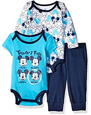 Baby Boys' 3-Piece 2 Mickey Mouse Bodysuits with Pant Set