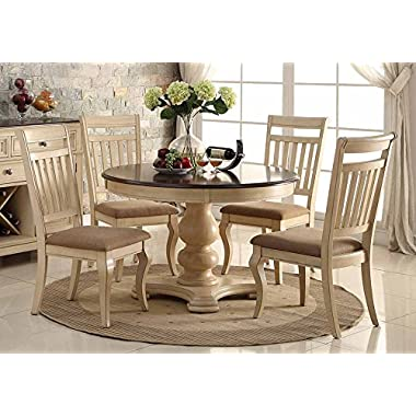 1PerfectChoice 5 pcs Elegant Dining Round Table Set Antique Cream Cherry Upholstered Side Chair