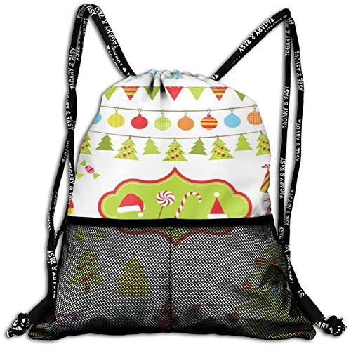 Taslilye Set Of Christmas Elements Vector Image Drawstring Backpack Front Zipper Mesh Bag Unisex For Travel Fitness