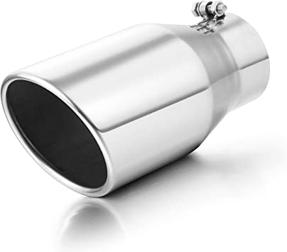 "Black Exhaust Tip 3/"" Inlet 4/"" Outlet Clamp On Muffler Tip For Tailpipe 12/"" Long"