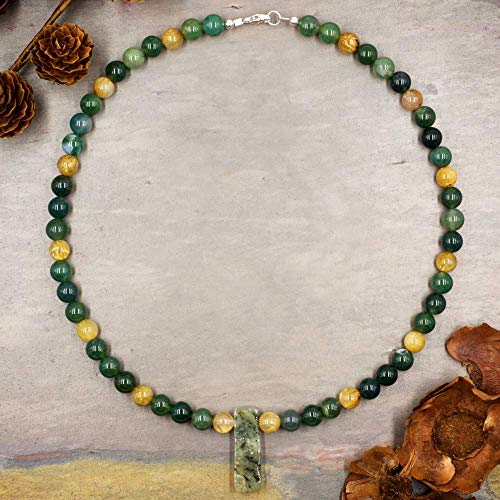 (Handmade Moss Agate and Gold Rutilated Quartz Beaded Necklace)