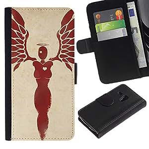 Stuss Case / Funda Carcasa PU de Cuero - Corazón mujer Blood Angel Red Wings - Samsung Galaxy S3 MINI 8190
