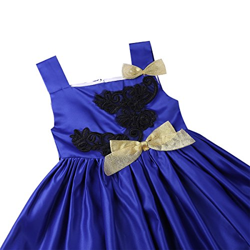 Party Girls Blue Dress Birthday Sleeveless Embroidered Dress Girl TiaoBug Kids Pageant Princess Flower vf1gqx