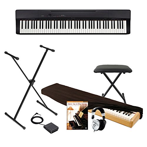 Casio Privia Full Size Digital Piano, Keyboard Bench, BEHRINGER Pedal and Keyboard Stand,Dust Cover and Adult All-In-One Course: Lesson-Theory-Technic: Level - Stand Privia Casio