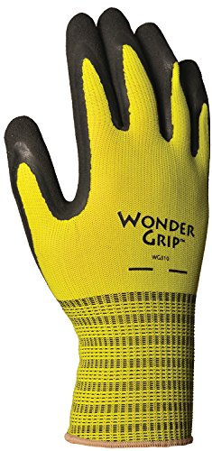 Wonder Grip WG310M Extra Grip Seamless Knit Work Gloves, Double-Coated Black Latex Palm, Excellent Wet or Dry Grip, Medium, Yellow Dipped Grip
