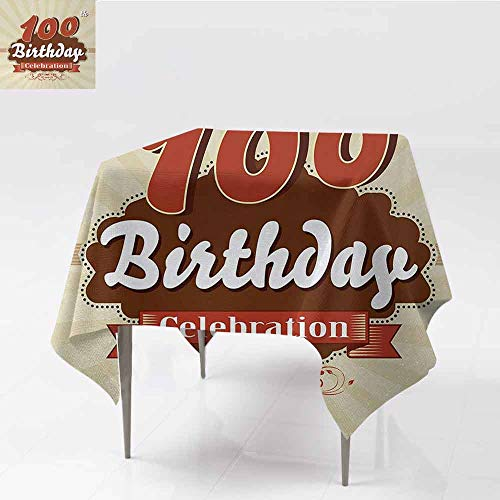 DILITECK Elegant Waterproof Spillproof Polyester Fabric Table Cover 100th Birthday Chocolate Wrap Like Brown Party Invitation Hundred Years Celebration Picnic W63 xL63 Cinnamon and Cream ()