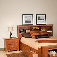 Prepac Monterey Cherry Double or Queen Bookcase Headboard 2 Piece Bedroom Set