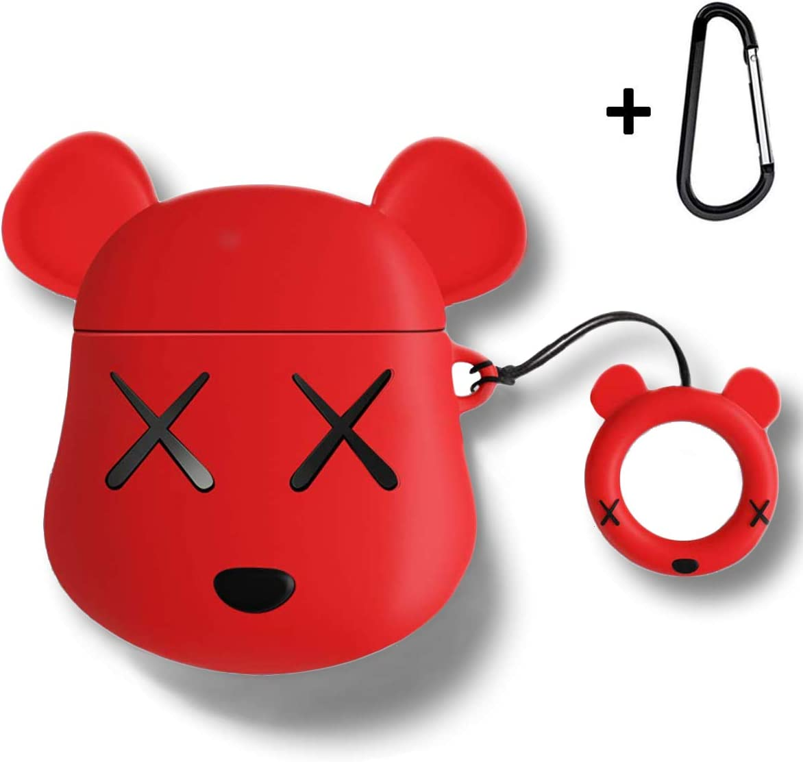MOLOVA Case for Airpods Case,AirPods 2 Case,Airpods Accessories,Airpods Skin, Cute Cartoon Bear Shock Proof Cover Compatiable with Apple AirPods Wireless Charging Case with Ring Rope Keychain (Red)