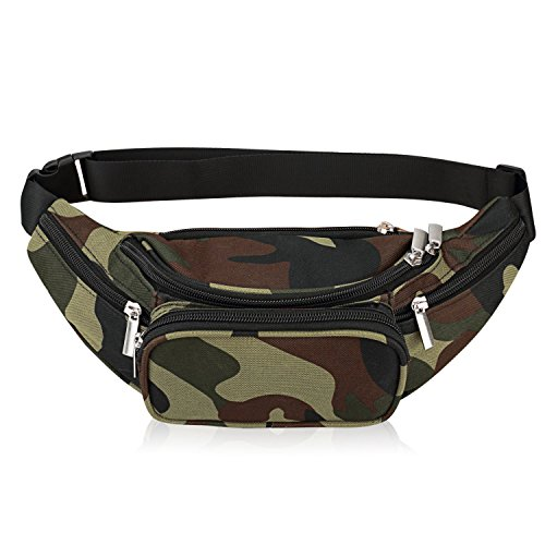 Waist Bag Belt Nylon Multifunctional for Women Men Water Proof Waist Bag Pack for Hiking Running Cycling Camping Climbing Travel (Military)