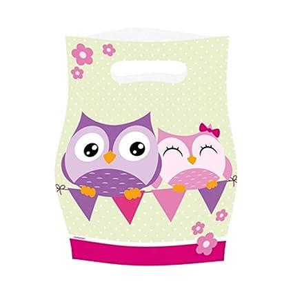 8 bolsas de plástico con dibujos de búhos Detalles para dar ...