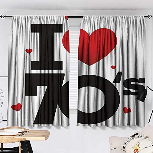 70s Party Curtain for Living Room The Seventies Icon with Various Shaped Hearts Vintage and Cute Retro Typography top Darkening Curtains Red Black W55 x L39 by Jinguizi (Image #1)