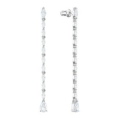 aca16e6cec5ed Amazon.com: Swarovski Louison Pierced Earrings, Long, White, Rhodium ...