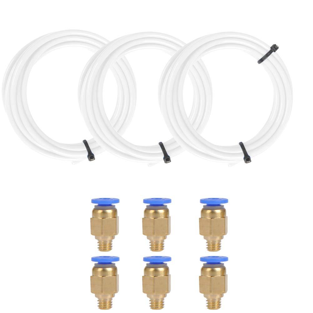 6 piezas Ajuste Recto Neum/ático PC4-M6 para Accesorios Impresora 3D 1.75mm Filamento YOTINO Tubo de Tefl/ón de PTFE 3 Piezas 2m