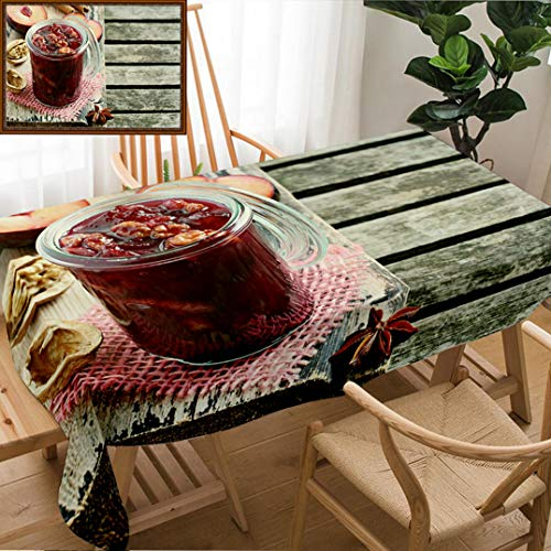 Unique Custom Design Cotton and Linen Blend Tablecloth Homemade Plum Jam with Walnuts and Spices On A Rustic Wooden Table Selective FocusTablecovers for Rectangle Tables, Small Size 48