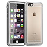 "CellEver iPhone 6/6s Case Waterproof Shockproof IP68 Certified SandProof Snowproof Full Body Protective Cover Fits Apple iPhone 6 and iPhone 6s (4.7"") - Clear White/Gray"