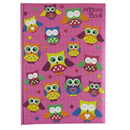 A5 Stylish, Padded A-Z Address Book - Owls Design - Size 8.3' x 5.8' by SoftTouch