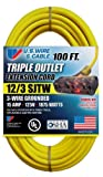 US Wire 76100 12/3 100-Foot SJTW Yellow Heavy Duty Extension Cord with Lighted Pow-R-Block