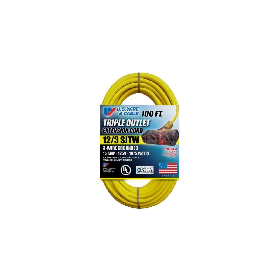 US Wire 76100 12/3 100 Foot SJTW Yellow Heavy Duty Extension Cord with Lighted Pow R Block