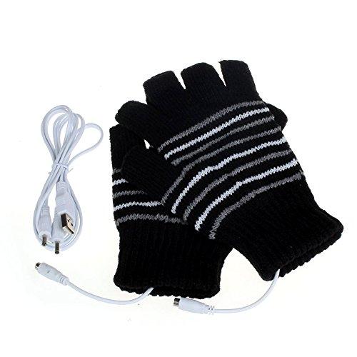 Livoty USB Heating Winter Gloves Women Man Hand Warm Gloves Heated Fingerless Mitten Washable (Black)