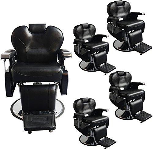 Five All Purpose Hydraulic Recline Barber Chairs Salon Beauty Spa Shampoo 8702 Black from BarberPub