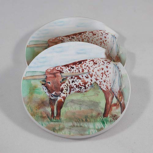 (Longhorn Cow Car Coasters Absorbent Stone Cup Holder (Set of 2))
