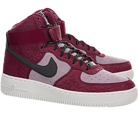 NIKE Air Force 1 Hi PRM Suede Womens Basketball-Shoes 845065-600_7.5 - Noble Red/Black-Plum Fog-Summit White