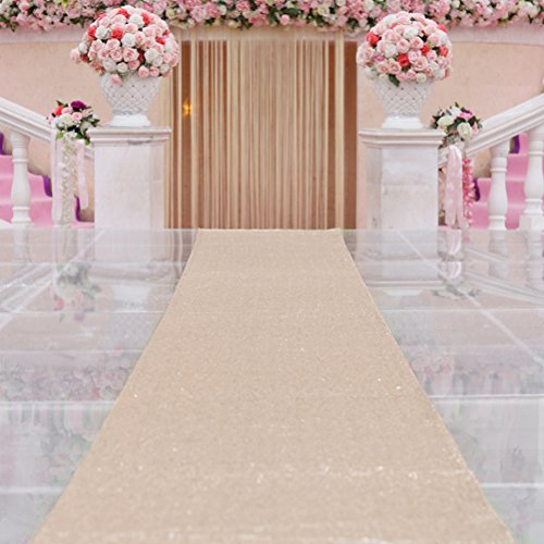 TRLYC Champagne Marriage Ceremony Runner Wedding Sequin Aisle Runner-48Inch by 15FT ()