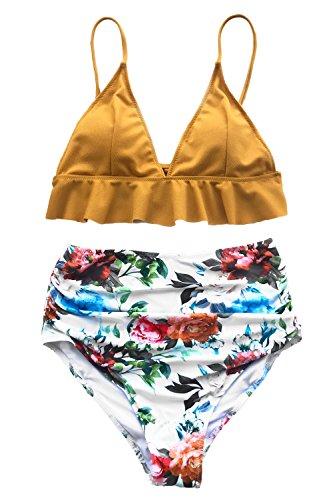 Cupshe Fashion Rambling Rose Falbala High Waisted Bikini Set Swimsuit Beach Swimwear Bathing Suit  M