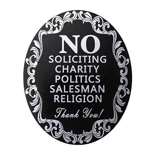 """No Soliciting Aluminum Sign with Sticker for Home and Business Heavy Duty 40 Mil Aluminum Etching Cut Oval 5"""" X 4"""" Outdoor Indoor Use with Door Knockers and Bell (Black)"""